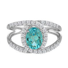 Fine Jewelry Lab-Created Opal, White Sapphire and Genuine Blue Topaz Sterling Silver Ring