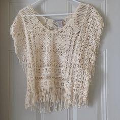 NWOT crochet top NWOT. Off white crochet top that has never been worn size medium Charlotte Russe Tops
