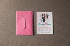 Partecipazioni matrimonio con illustrazione personalizzata.  Wedding invitation with illustration #wedding