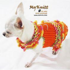Cute dog dress harness from Myknitt designer dog clothes. #cute #chihuahua #designerdogclothes #dogs #celebritydog #hollywood #fashion #DIY #handmade #crochet #knit