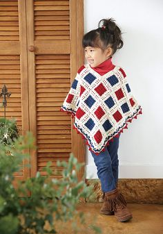 Ravelry: Kid's Aurora Poncho pattern by Pierrot (Gosyo Co., Ltd)