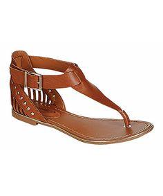 Another great find on #zulily! Tan Jovie T-Strap Sandal #zulilyfinds