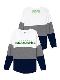 """#Victoria's Secret PINK """"NFL Collection"""", Seattle Seahawks Bling Varsity Crew- thin fleece material, Bling and embroidered logos across chest, """"PINK"""" printed log..."""