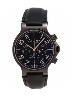 Asprey Black Stainless Steel PVD & Black Leather Chronograph Watch, 40mm by Asprey at Gilt