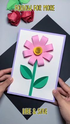 Paper Flowers Craft, Diy Crafts For Gifts, Paper Crafts For Kids, Creative Crafts, Easy Mother's Day Crafts, Card Crafts, Mothers Day Cards Craft, Mothers Day Crafts For Kids, Mother's Day Diy