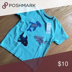 Gymboree shark top teal green NWT New embroidered sharks Gymboree Shirts & Tops Tees - Short Sleeve