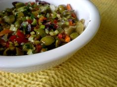This is my version of the Olive Salad for the New Orleans Cuisine classic sandwich, The Muffuletta! My friend Tom and I always make at least. Muffuletta Olive Salad Recipe, Muffaletta Recipe, Vegetarian Recipes, Cooking Recipes, Healthy Recipes, Yummy Recipes, Healthy Food, Recipies, Creole Recipes
