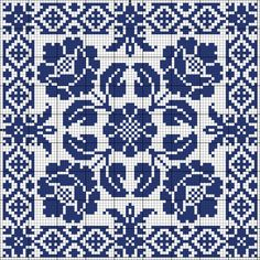 Blue tile Chart for cross stitch or filet crochet. Biscornu Cross Stitch, Cross Stitch Charts, Cross Stitch Designs, Cross Stitch Embroidery, Embroidery Patterns, Cross Stitch Patterns, Crochet Chart, Filet Crochet, Crochet Stitch