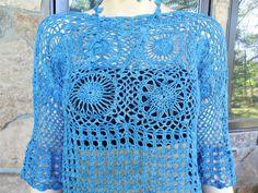 Denim Blue Crochet Motifs Lace Top by CasadeAngelaCrochet on Etsy