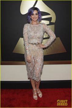 Katy Perry is looking super fab in her fringe dress while walking the red carpet at the 2015 Grammy Awards held at the Staples Center on Sunday (February 8) in Los Angeles.