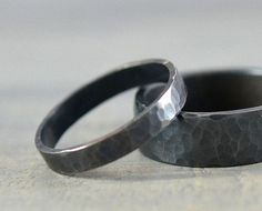 His and Hers Wedding Rings Black Hammered Rings by Gioielli Designs