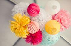 paper lanterns + poms bunch #party #decorations #paper #poms #pompoms #colors #bright