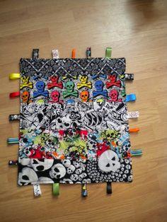 custom crinkle toy baby boy rocker punk rockabilly skull taggie blanket