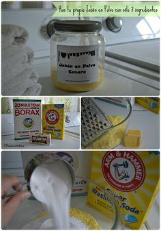 30 minutos y 3 ingredientes es lo único que necesitas para hacer tu propio Jabón en polvo para lavar la Ropa. #DIY #Receta #EcoMami #Natural #Lavarlaropa #Laundry #Jabón #Detergente #VidaVerde #Ecologico Clean House, Cleaning Hacks, Diy Projects, Organic, Crafty, Healthy, How To Make, Natural, Tips And Tricks