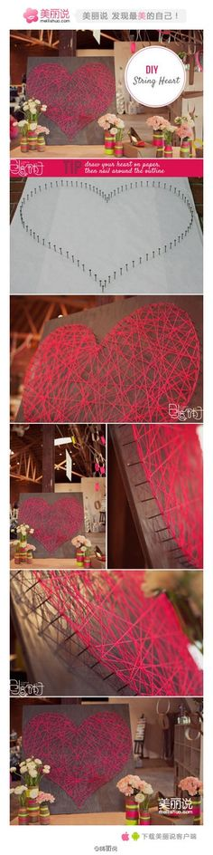 Easy String Art for Homes DIY Projects Craft Ideas & How To's for Home Decor with Videos Crafts For Girls, Fun Crafts, Diy And Crafts, Arts And Crafts, Diy Art Projects, Projects To Try, Craft Gifts, Diy Gifts, String Art Diy