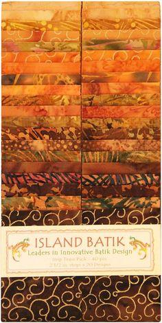 """SOLD OUT Island Batik Apple Cider Strip Pack; Precut 2.5"""" strips by Island Batik at TCSFabrics #Batik #Fabric #StripPack #IslandBatik"""
