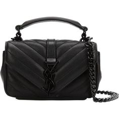 Saint Laurent baby 'Monogram' shoulder bag (12.765 DKK) ❤ liked on Polyvore featuring bags, handbags, shoulder bags, black, black quilted shoulder bag, yves saint laurent, monogram handbags, black shoulder bag and black handbags