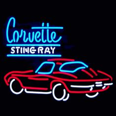 """CORVETTE STINGRAY NEON SIGN-NN5STING  25"""" wide, 23""""high, 4"""" deep  Announce your need for speed with our Corvette Stingray Neon Sign, featuring multi-colored, hand blown tubing supported on a black, finished metal grid. The Corvette Stingray Neon Sign can be displayed flat on a wall or in a window or alternately be placed upon a shelf."""