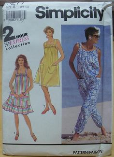 Simplicity 7277 Sun dress and jumpsuit sewing pattern All sizes UNCUT Vintage Jumpsuit, Jumpsuit Pattern, Simplicity Patterns, Jumpsuits For Women, Sewing Patterns, Cover Up, Cute, Crafty, Clothes