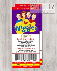 The Wiggles Concert Ticket Invitation, Wiggles Invite, Wiggle Party, Wiggle Birthday 1st Birthday Boy Themes, Boys First Birthday Party Ideas, First Birthday Decorations, Birthday Treats, 1st Boy Birthday, 3rd Birthday Parties, Wiggles Party, Wiggles Birthday, The Wiggles