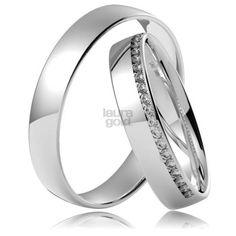 Svadobné obrúčky z bieleho zlata so zirkónmi alebo diamantami LG 583 04e28379420