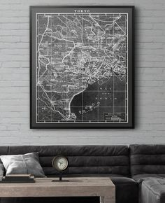 Tokyo Japan Map print. Similar to Restoration Hardware circa 1900s lithograph maps but not affiliated with or produced by them. Many sizing options available at a fraction of the price!