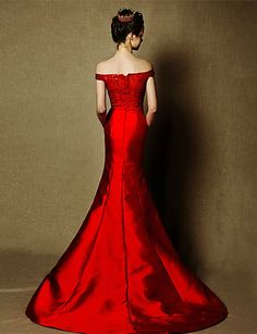 Formal Evening Dress Trumpet/Mermaid Off-the-shoulder Sweep/Brush Train Satin Dress – CAD $ 250.19