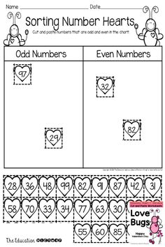 Sort odd and even numbers. Valentine's Day Love Bugs Math Printables. Cut and Paste Fun. Grade K-1. The Education Highway.