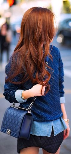 Love the blue with the red hair! Monochromatic Style