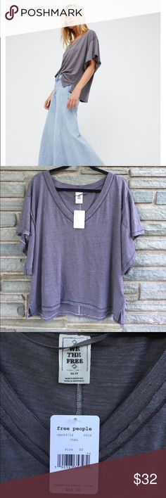 Free People My Boyfriend's Tee NWT. Free People My Boyfriend's Tee in Coal. V-Neck Featuring a Relaxed Oversized Fit. Unfinished Edges, Semi-Sheer Fabrication. Size XS Free People Tops Tees - Short Sleeve