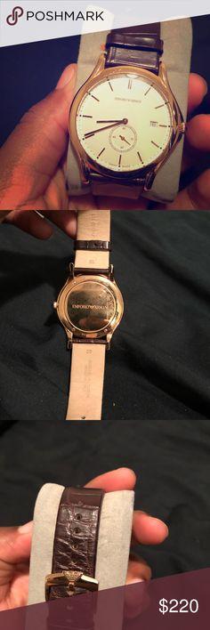 Rose Gold Swiss Made Armani Watch Rose Gold Face , Dark Brown Alligator Skin Band . Armani Exchange Accessories Watches