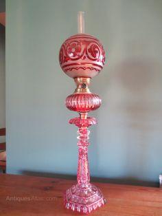 Antiques Atlas - Victorian 19thC Cranberry Cut Glass Oil Lamp