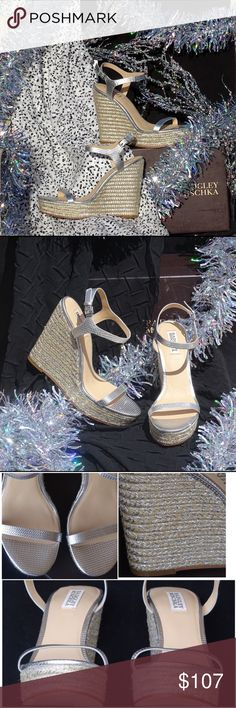 """Badgley Mischka """"Clea"""" Sandal Brand New Badgley Mischka silver leather 1.5"""" platform and 4.5"""" wedge sandal. The classic wedge has been woven with metallic silver threading, a textured leather upper, with an adjustable ankle strap. Partial tag still attached and never worn. Comes with box and dust bag. Size 9 Badgley Mischka Shoes Wedges"""
