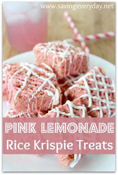 Pink Lemonade Rice Krispie Treats Recipe | 25+ Rice Krispies Treats Ideas | NoBiggie.net