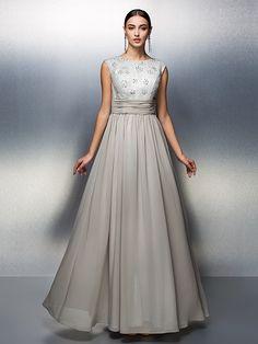 TS Couture Sheath/Column Mother of the Bride Dress - Silver Floor-length Sleeveless Chiffon - USD $89.99