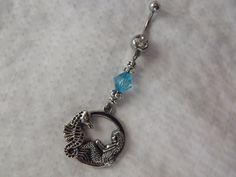 Nautical Mermaid and Seahorse Belly ring by AGothShop on Etsy, $14.00