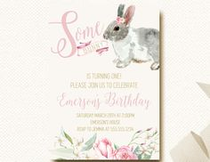 Some Bunny Rabbit Birthday Invitation Floral by DesignOnPaper
