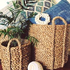 Seagrass Baskets Woven with Handles available in 3 sizes.