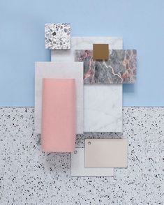 Material Mood Of The Week ~ Beachy Colors & Marble Mood Board Interior, Beachy Colors, Terrazo, Small Space Interior Design, Material Board, Concept Board, Colour Board, Colour Schemes, Mood Boards