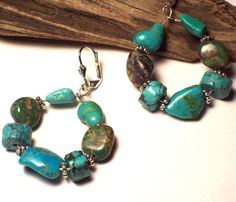 HOPI - Turquoise Hoop Earrings with Sterling Silver via riverpebble stonewear ~ handmade jewelry. Click on the image to see more!