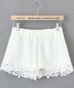 White Elastic Waist Floral Crochet Shorts - Sheinside.com