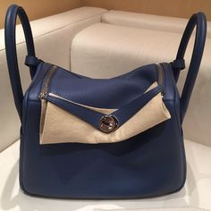 9ff58bbad673 Hermès Lindy 30 Bleu Agate Gris Mouette Verso Clemence Palladium Hardware  PHW A Stamp 2017