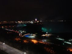 View of Niagara Falls at night from the 10th floor of the Marriott.  Great trip:)