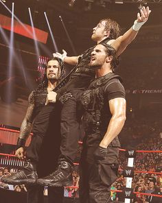 The Shield: Roman Reigns (L), Dean Ambrose (M) and Seth Rollins (R)