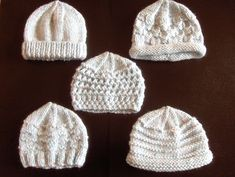 Knitting Patterns for Baby Hats Premature Small Baby Knitting Pattern For 5 Hats Baby Hat Knitting Patterns Free, Baby Hat Patterns, Baby Hats Knitting, Free Knitting, Knitted Hats, Newborn Knit Hat, Knitting For Charity, Double Knitting, How To Purl Knit