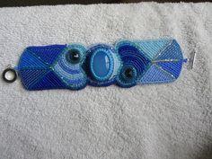 Blue chalcedony, swarovski crystals bracelet. SOLD!