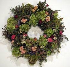Beautiful colors - moss green, dusty pink, red rose, rosy pink, and dark forest green