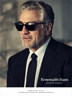 Robert De Niro is a cool vision in a traditional black suit and sunglasses for Ermenegildo Zegna's Defining Moments campaign.