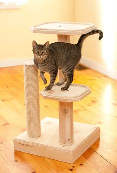 Natural Wood 36 Inch Two Level Cat Tree with Cedar Posts and Sisal Rope Small Cat Tree, Cat Climber, Homemade Cat Toys, Cat Merchandise, Cedar Posts, Wood Cat, Sisal Rope, Cat Scratching Post, Cat Condo