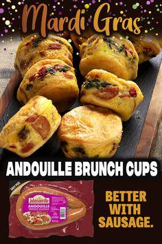 Brunch Recipes, Breakfast Recipes, Snack Recipes, Cooking Recipes, Snacks, Breakfast Cups, Savory Breakfast, Creole Recipes, Cajun Recipes